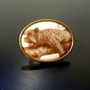 Vintage Yawning Leopard Hanging in Tree Brooche